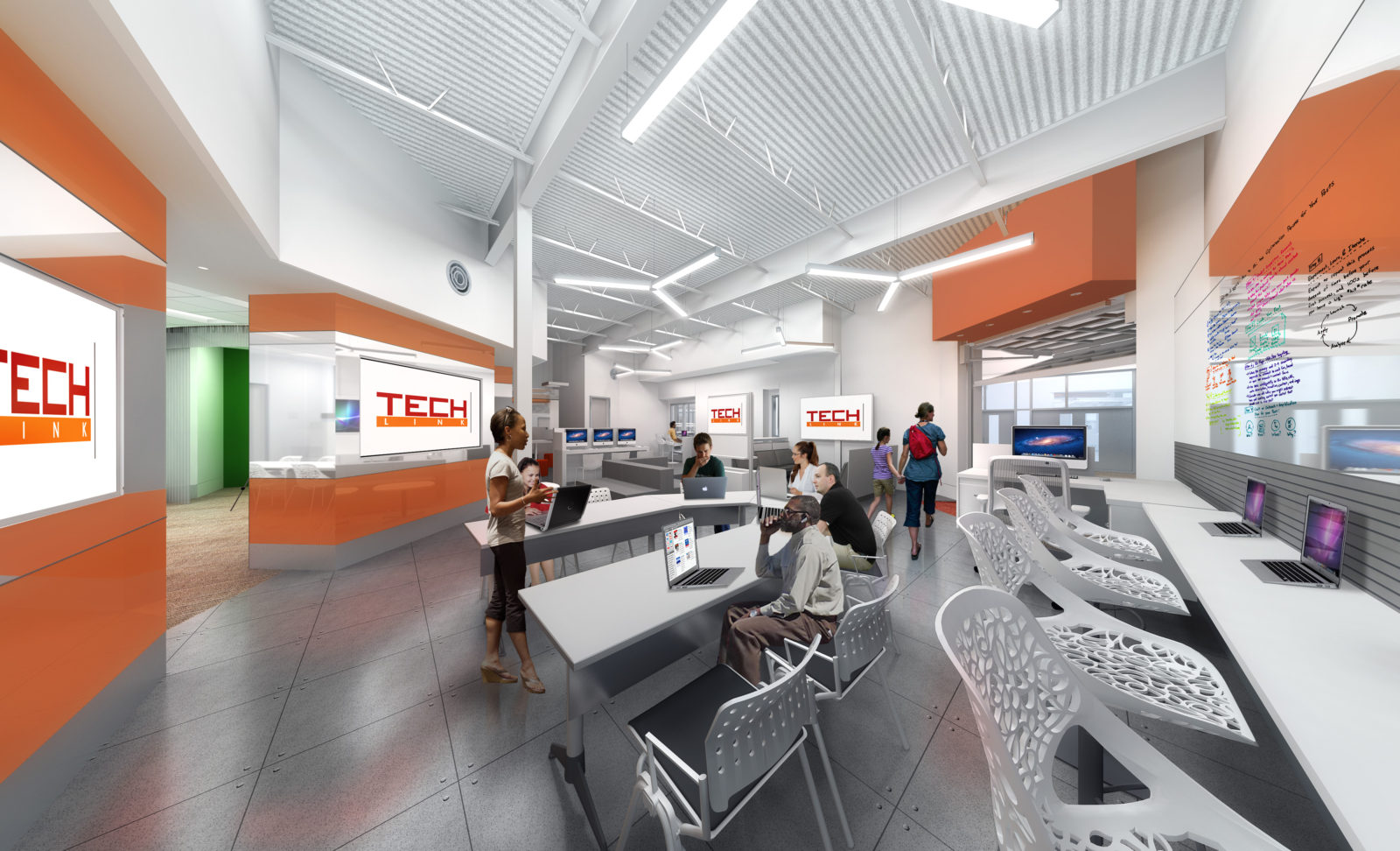 Tech Link Rendering.Training.Laptop Bar. Collaborate Space